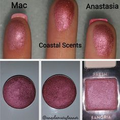 #repost from @angelamarytanner  Few things excite me more than a good makeup dupe lol. This is @maccosmetics Cranberry ($10) vs. @coastalscents Victorian Ruby ($2) vs. @anastasiabeverlyhills Sangria ($12). Definitely adding Victorian Ruby to my Coastal Scents shopping list! ✨