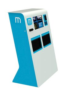 MediaSurfer, a freestanding, self-check kiosk that dispenses tablets, manages tablet content, and automatically charges each tablet.