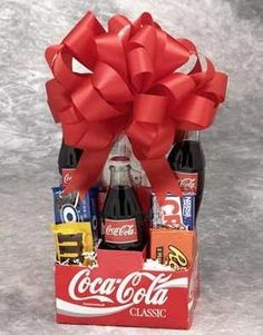 DIY Gift Baskets for junk food lovers. Fill with their favorite sweets and sodas. Could include movie tickets or an itunes card to go with. :-) Great idea for teen gift too.