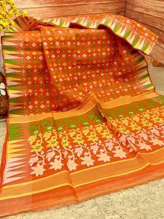 Bright Orange Color Dhakai jamdani with White, Yellow, Green Weaving Dhakai Jamdani Saree, Handloom Saree, Bengali Saree, Saree Collection, Orange Color, Sarees, Weaving, Bright, Silk