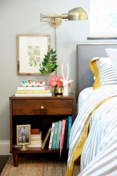 guest room nightstand styling