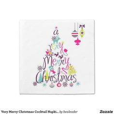 Very Merry Christmas Cocktail Napkins