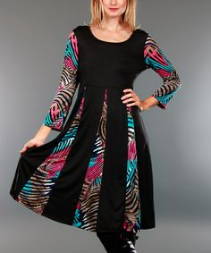 Look what I found on #zulily! Black & Pink Jungle-Contrast Tunic #zulilyfinds