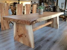 Untitled Wood Slab Table, Wood Table Design, Reclaimed Wood Dining Table, Rustic Table, Wooden Tables, Live Edge Tisch, Live Edge Table, Wicker Dining Chairs, Dining Table Legs