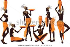 African women isolated over white background - stock vector