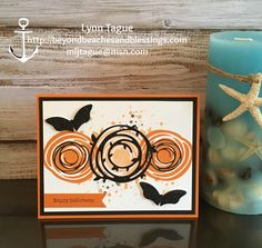 Swirly Bird Halloween - Swirly Bird Stamp Set and Swirly Scribbles Thinlits- White, Basic Black, and Pumpkin Pie cardstock.  For the die-cut leafy swirl in the center and the two bats Black Glimmer Paper; Elegant Butterfly Punch to create the two bats.