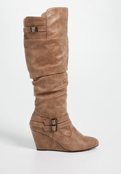 Shari wedge boot with buckles