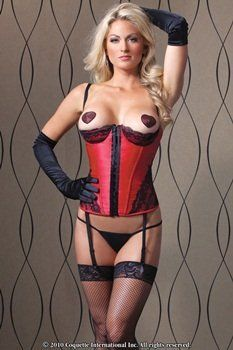 Coquette Satin and Lace Bustier Red/Black Medium Coquette. $44.99