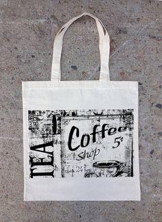 33471ed32ec2 Vintage Tea and Coffee Sign - Natural Canvas Tote Bag Cotton Bag