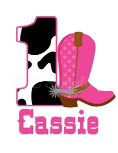 Personalized Pink Cow Print Cowgirl Boot T-Shirt or Onesie by Cutie Patootie Creations www.cutiepatootiecreations.com