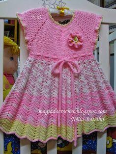 Magia do Crochet: Vestido em crochet rosa e amarelo