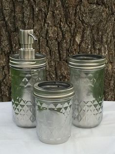 Copperas Creek Designs ~ Products ~ 3-piece Silver Mason Jar Bath Set ~ Shopify