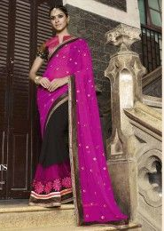 Party Wear Georgette Violet Embroidered Work Saree