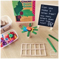 """A Pinch of Kinder: Can you make a letter tree? How many letters does your tree hold? A """"Chicka Chicka Boom Boom"""" STEM provocation! Kindergarten Centers, Early Literacy, Preschool Classroom, Kindergarten Activities, Number Sense Kindergarten, Preschool Decor, Preschool Letters, Kindergarten Writing, Classroom Ideas"""