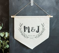 Personalized Love Wall Banner Flag, Handmade Natural Linen Hanging Banner, Wedding, Anniversary, Bridal Shower Gift, Rustic Wedding Decor