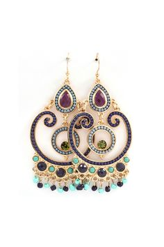 Michelle Chandelier Earrings in Sultry Blues