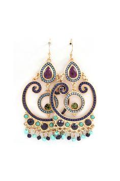 Michelle Chandelier Earrings in Sultry Blues