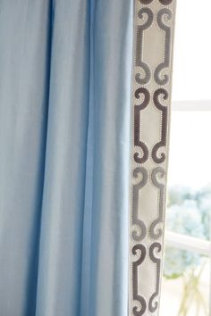 Trend 01838 Glacier Drapes with Zimmer Rohde Velvet Scroll Trim Navy Gray 2860012598 House Blinds, Blinds For Windows, House Windows, Windows Decor, Shutter Blinds, Curtains And Draperies, Drapery Panels, Bedroom Drapes, Luxury Curtains