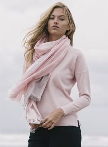 A pink & grey scarf that will will add a refreshing touch to a look of tailored separates. Grey Scarf, Tweed Coat, Donegal, Separates, Pink Grey, Woven Fabric, Knitwear, Cashmere, Women Wear