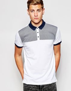 New Look Polo Shirt with Ditsy Cut & Sew Print