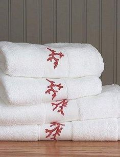 Branches of delicate ocean coral are embroidered in rich red embroidery thread on our 550 gram white Egyptian cotton terry towels. Made in Europe, the towels are a mid-weight cotton terry, with a short dry time and durability to retain their good. Nautical Bath, Nautical Home, Fine China Dinnerware, Bathroom Red, Embroidered Towels, Coastal Bathrooms, Terry Towel, Red Coral, Beach House Decor