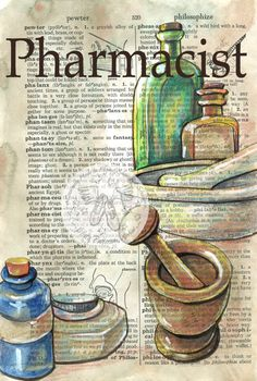 PRINT:  Pharmacist Mixed Media Drawing on Antique Dictionary Page by flyingshoes