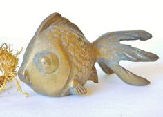 Vintage Brass Fish, Fantail Goldfish, Desk Buddy, Paperweight, Figurine, 4.5 Inches Long, Vintage, by LavishMaidenVintage on Etsy