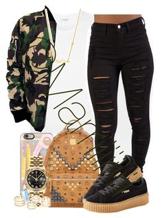 """""""Its Never That Serious"""" by marriiiiiiiii ❤ liked on Polyvore featuring Yves Saint Laurent, Casetify, MCM, Puma, Rolex, Sydney Evan, women's clothing, women, female and woman"""