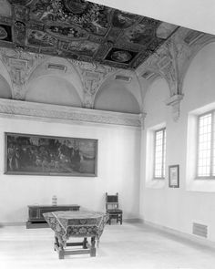 This southwest view of Italian sixteenth-century paintings and decorative arts was photographed on April 14, 1921.