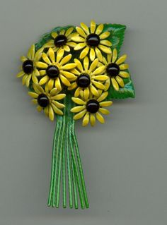 1960s Enameled Daisy Bouquet Brooch by Jewelboy on Etsy, $20.00