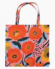 The versatile cotton bag features the Rosarium pattern. The lightweight bag is easy to tuck into another bag so that it is always with you.Printed in Helsinki.The Rosarium design captures a rose garden where the fullest bloom will soon b Helsinki, Marimekko Bag, Cotton Tote Bags, Reusable Tote Bags, Red Sign, Rose Varieties, Bold Prints, Pink Blue, Bag Accessories