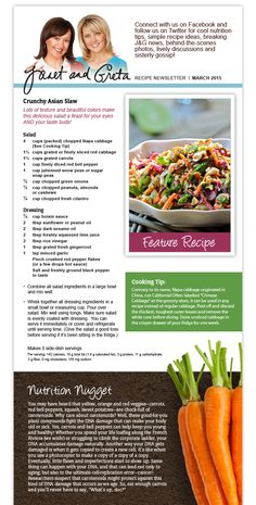 Gout Recipes, Salad Recipes, Cooking Recipes, Asian Slaw, Weight Watchers Meals, Nutrition Tips, Gluten Free Recipes, Health And Wellness