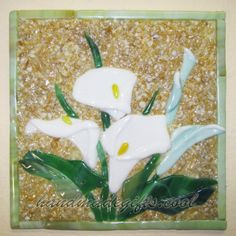 Arum lily fused glass picture