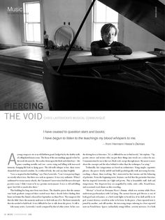 """Chronogram Magazine - """"Piercing the Void: Chris Lastovicka's Musical Communique"""". Writer Sharon Nichols queries Chris Lastovicka about her compositions 'Abraxas', 'Shanti', 'The 7th Chapter of Job', and 'The End of Tyranny' found on the EP """"Fortune Has Turned"""". (""""I have ceased to question stars and books; I have begun to listen to the teachings my blood whispers to me.""""--from Hermann Hesse's 'Demian')"""