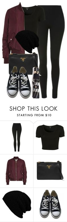 """Style #11078"" by vany-alvarado ❤ liked on Polyvore featuring Topshop, Prada, KBETHOS, Converse and Burberry"