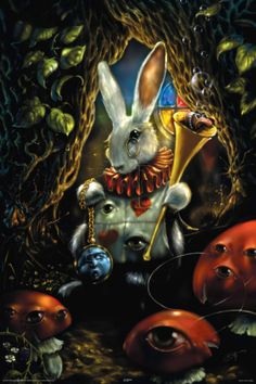 Richard Biffle Art Poster Alice in Wonderland White Rabbit Mushroom 1052 Alicia Wonderland, White Rabbit Alice In Wonderland, Adventures In Wonderland, Alice Rabbit, Lewis Carroll, 3d Fantasy, Fantasy World, Illustrations, Illustration Art