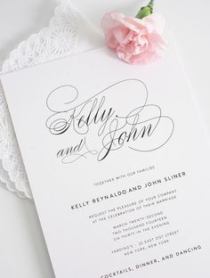 Elegant Script Wedding Invitations #weddinginvitationwording