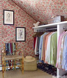gary mcbournie (via Pinterest) Love the wallpapered slanting ceiling.