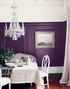 Here are our favorite dining room paint colors. Before you buy that dining room furniture set, decide on the rich color hue for your dining room walls. For more paint and colors ideas and dining room paint colors go to Domino. Home Interior, Interior Design, Purple Rooms, Purple Walls, Plum Walls, Color Walls, White Walls, White Ceiling, Colores Paredes