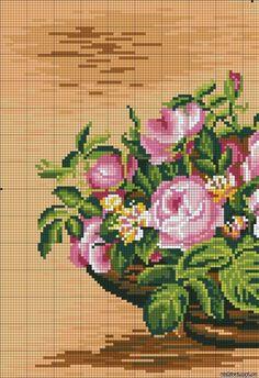 ♥Meus Gráficos De Ponto Cruz♥: Quadro: Arranjo de Rosas em Ponto Cruz