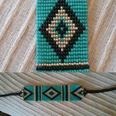 Loom beaded bracelet with waxed cord / Turquoise by Suusjabeads