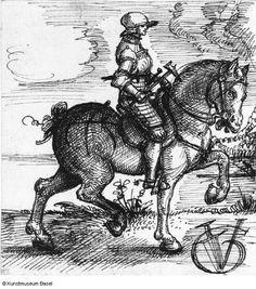 Urs Graf, Geharnischter Reiter, um 1520 (rider in armour)
