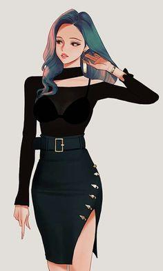 Study drawings by wonbin lee Pretty Anime Girl, Beautiful Anime Girl, Anime Art Girl, Anime Girl Dress, Fashion Drawing Dresses, Fashion Illustration Dresses, Fashion Design Drawings, Fashion Sketches, Mode Lookbook