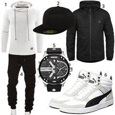 Schwarz-Weißer Herren-Style mit Puma, Diesel und Solid (m0946) #schwarz #weiss #puma #pullover #cap #jacke #outfit #style #fashion #ootd #herrenmode #männermode #outfit #style #fashion #menswear #mensfashion #inspiration #menstyle #inspiration