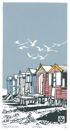 Lino cut art print Beach Huts, Whitstable love the birds! Linocut Prints, Art Prints, Block Prints, Lino Art, Illustrator, Linoprint, Beach Art, Beach Huts Art, Beach Wood