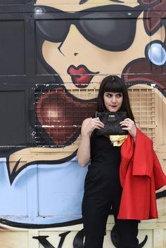black vintage jumpsuit, vintage scarf, street style, black jumper