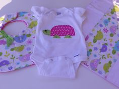 Custom Baby Bib onesie and burp cloth set Girl by Stitchedbygigi, $21.00