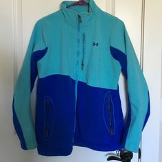UA two toned blue jacket Great condition Under Armour fleece jacket... Moving soon! Make an offer😍 Under Armour Jackets & Coats