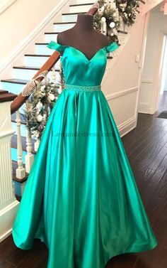 Off Shoulder Sweetheart Satin Beaded Pageant Dress Emerald 51124 573ddbcefc78