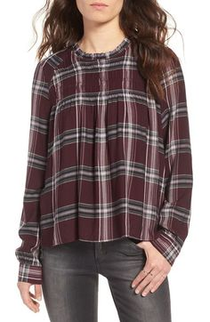 BP. Smocked Plaid Blouse available at #Nordstrom